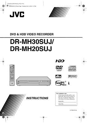 JVC DR-MH20SUJ DR-MH30SUJ DVD Recorder Owners Instruction Manual Reprint