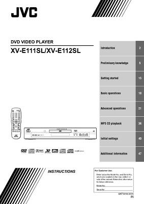JVC XV-E111SL XV-E112SL DVD Player Owners Instruction Manual Reprint