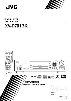 JVC XV-D701BK DVD Player Owners Instruction Manual Reprint