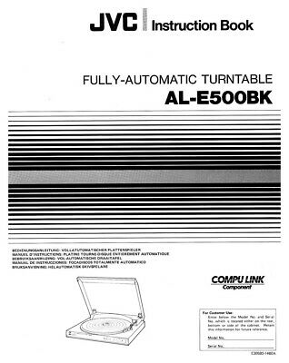 JVC AL-E500BK Turntable Owners Instruction Manual Reprint