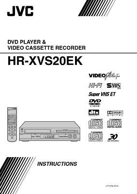 JVC HR-XVS20EK VCR Owners Instruction Manual Reprint
