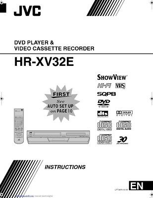 JVC HR-XV32E VCR Owners Instruction Manual Reprint