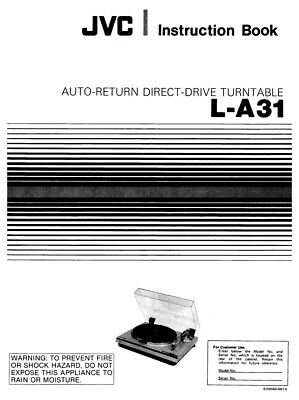 JVC L-A31 Turntable Owners Instruction Manual Reprint