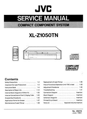 JVC XL-Z1050TN CD Player Owners Instruction Manual Reprint
