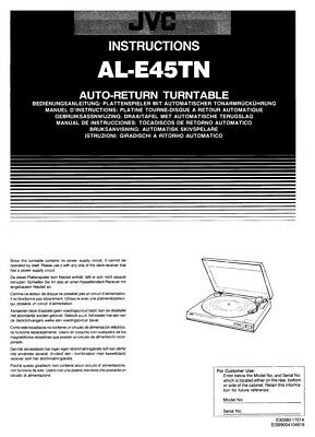 JVC AL-E45TN Turntable Owners Instruction Manual Reprint