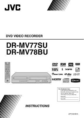 JVC DR-MV77SU DR-MV78BU DVD Recorder Owners Instruction Manual Reprint