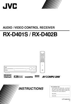 JVC RX-D401SJ RX-D402BJ Receiver Owners Instruction Manual Reprint