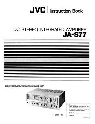 JVC JA-S77 Amplifier Owners Instruction Manual Reprint