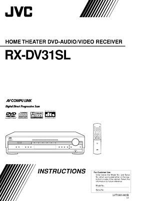 JVC RX-DV31SL Receiver Owners Instruction Manual Reprint