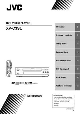 JVC XV-C3SL DVD Player Owners Instruction Manual Reprint
