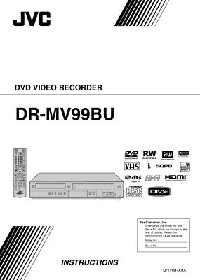 JVC DR-MV99BU DVD Recorder Owners Instruction Manual Reprint