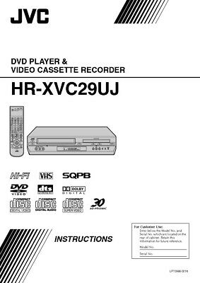 JVC HR-XVC29UJ VCR Owners Instruction Manual Reprint