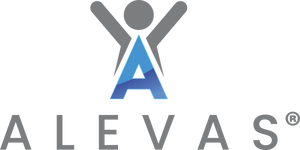 "This is the image of the Alevas logo. A large blue ""A"" above the company name Alevas."