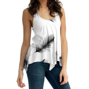 Feather Print Back Lace Up Sleeveless Top
