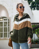 Patchwork Long Sleeve Plush Jacket