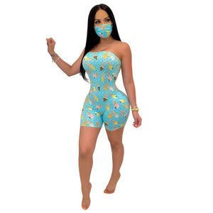Print Strapless Jumpsuit with Face Mask