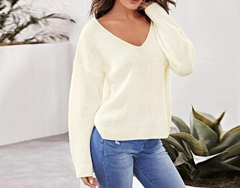 Beige Solid Lace Up Backless Sweater - Dots Clothing Store