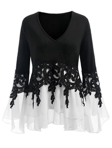 Bell Flare Sleeve Chiffon Top - Dots Clothing Store