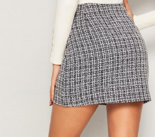 Black and White Double Breasted Tweed Skirts - Dots Clothing Store