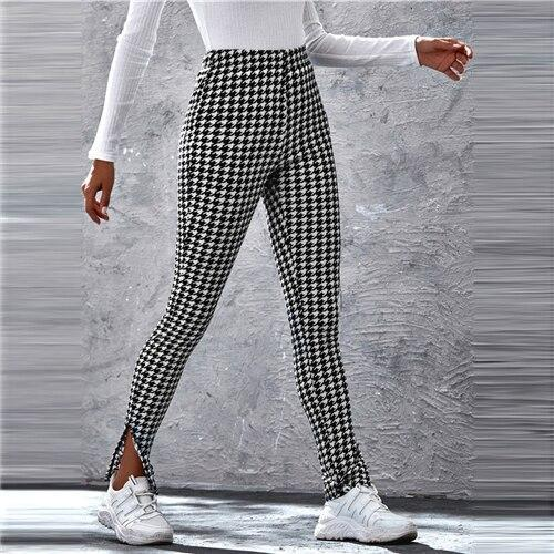 Black and White Split Hem Houndstooth Skinny Pants - Dots Clothing Store