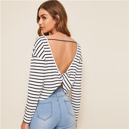 Black and White Twist Back Striped Top - Dots Clothing Store