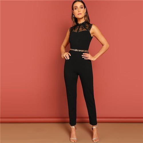 Black Contrast Lace Bodice Sleeveless Jumpsuit - Dots Clothing Store