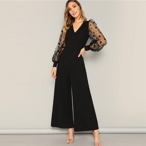 Black Contrast Mesh Sleeve Top And Wide Leg Pants Jumpsuit - Dots Clothing Store