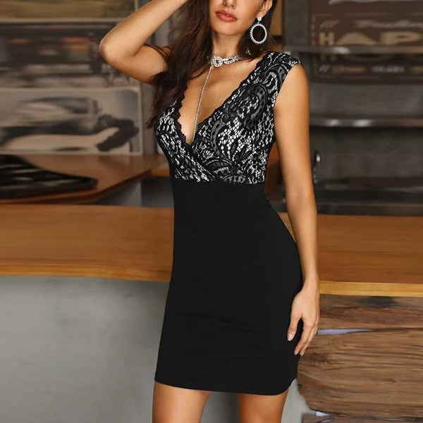 Black Deep Plunge Lace Sleeveless Bodycon Dress - Dots Clothing Store