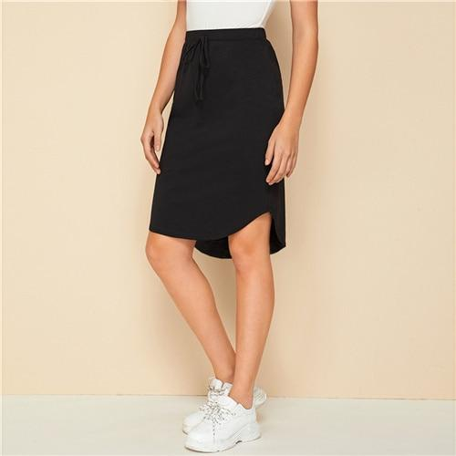 Black Drawstring Front High Low Hem Skirt - Dots Clothing Store