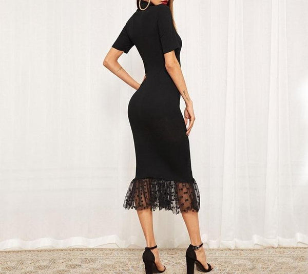 Black Form Fitting Dot Mesh Hem Midi Dress - Dots Clothing Store