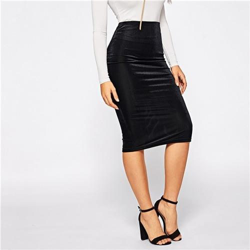 Black Mid Waist Bodycon Pencil Skirt - Dots Clothing Store