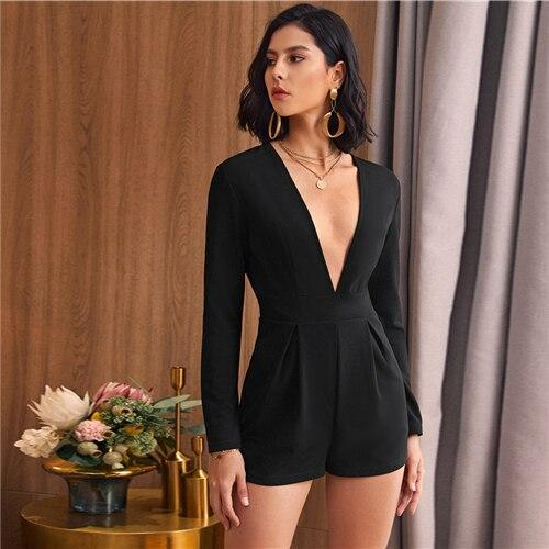 Black Plunging Neck Boxy Pleated Romper - Dots Clothing Store