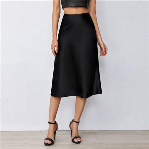 Black Satin Midi Skirt - Dots Clothing Store