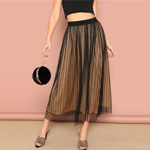 Black Striped Mesh Overlay Mid Waist Skirt - Dots Clothing Store