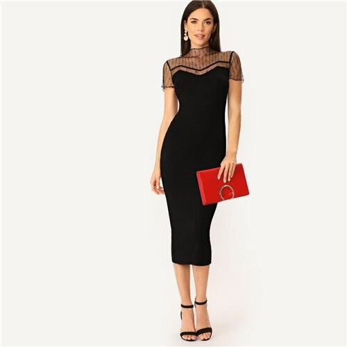 Black Striped Mesh Straight Dress - Dots Clothing Store