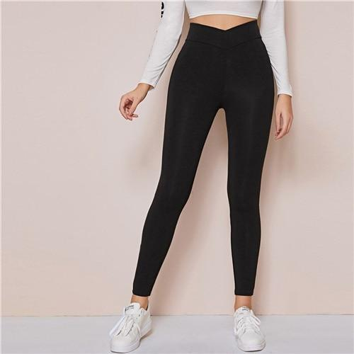 Black Wide Waistband Casual Leggings - Dots Clothing Store