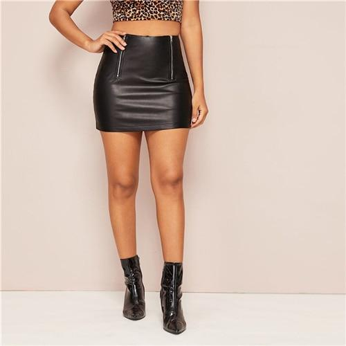 Black Zipper Front Bodycon PU Skirt - Dots Clothing Store