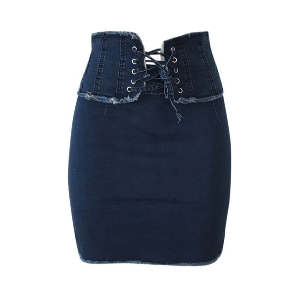 Blue lace up closure mini skirt - Dots Clothing Store