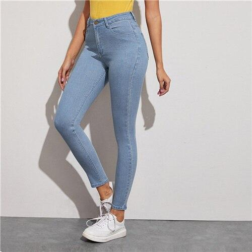 Blue Light Wash Five-Pocket Stretchy Cropped Jeans - Dots Clothing Store