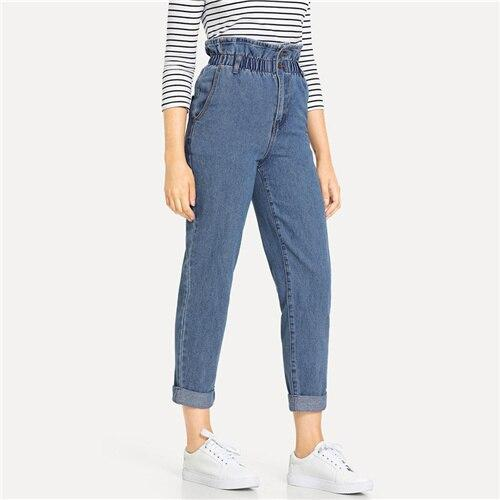 Blue Rolled Hem Frill High Waist Jeans - Dots Clothing Store