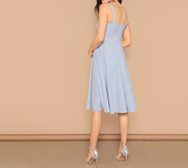 Blue Zip Back Fit and Flare Tank Midi Dress - Dots Clothing Store
