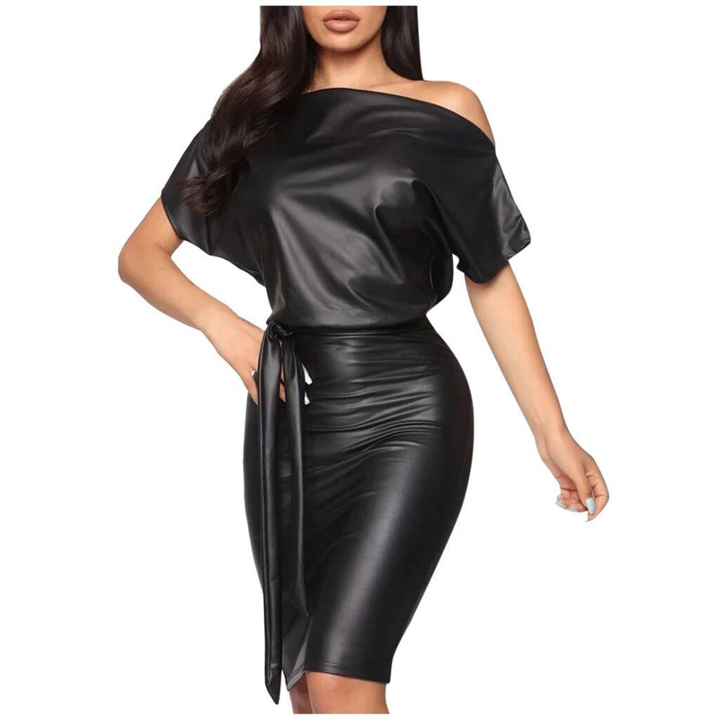 Bodycon Faux Leather Long Dress - Dots Clothing Store