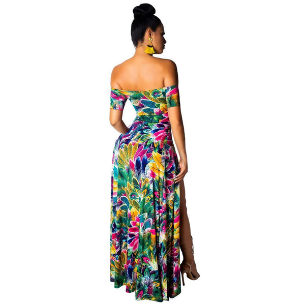 Bohemian Floral Print High Slit Dress - Dots Clothing Store