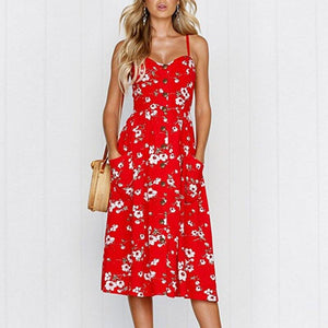 Bohemian Style Button Floral Print Sundress - Dots Clothing Store