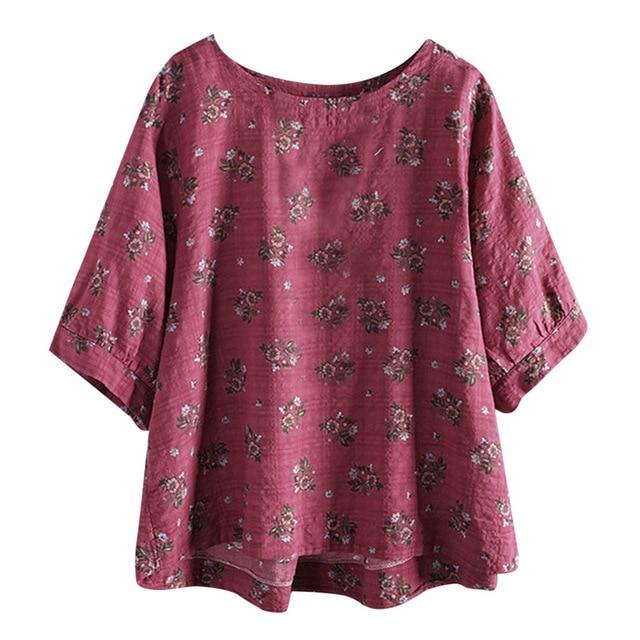 Boho floral loose short sleeve blouse - Dots Clothing Store