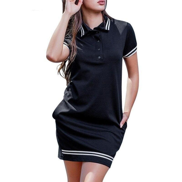 Brief Stand Neck Polo Mini Dress - Dots Clothing Store