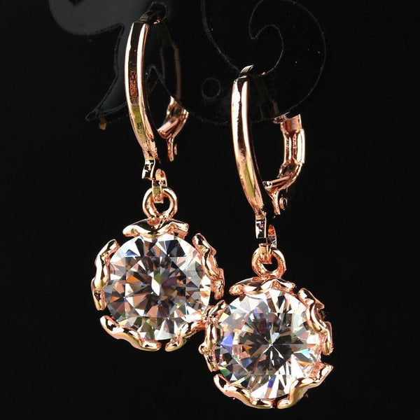 Bright colors crystal drop earrings - Dots Clothing Store