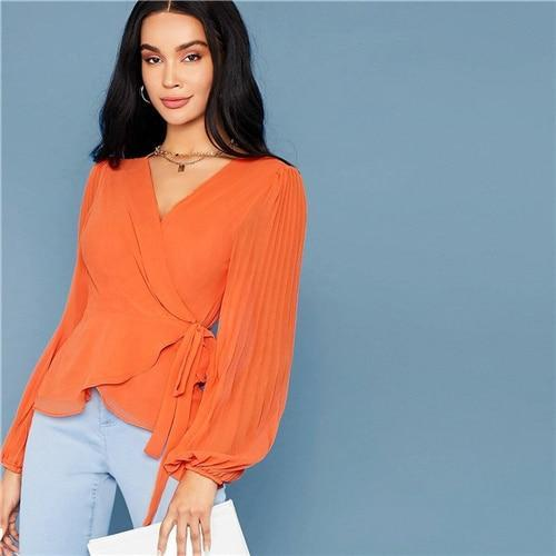 Bright Orange Tie Side Wrap Blouse - Dots Clothing Store