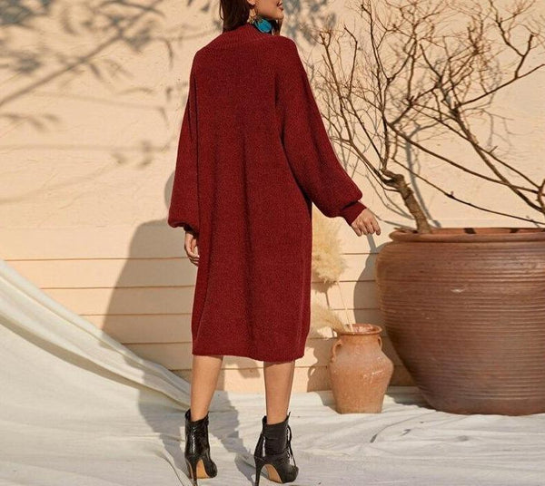 Burgundy Stand Collar Casual Tunic Sweater Dress - Dots Clothing Store