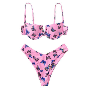 Butterfly Print Push Up Bikini - Dots Clothing Store